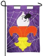 Candy Corn Fleur de Lis Double Applique Garden Flag