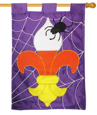 Candy Corn Fleur de Lis Double Applique House Flag