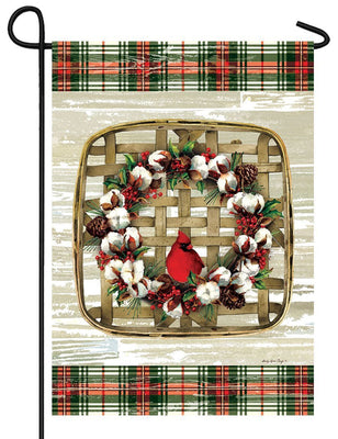 Cardinal Cotton Wreath Garden Flag