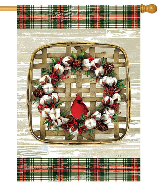 Cardinal Cotton Wreath House Flag - All Decorative Flags/Holidays/Christmas Flags - I AmEricas Flags