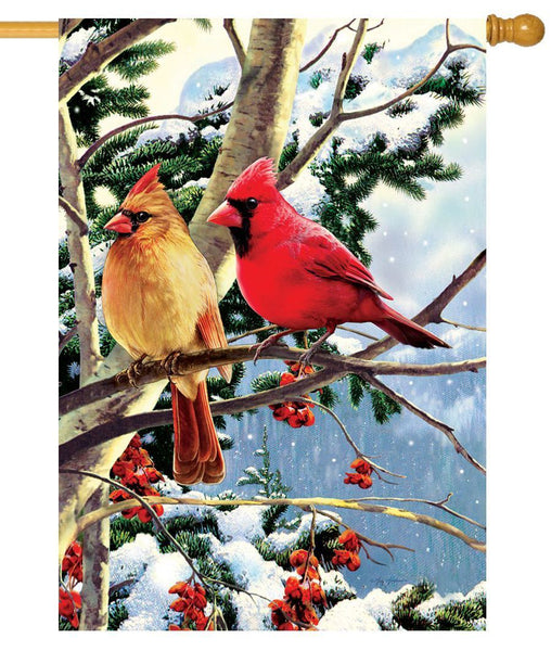 Cardinal Couple Branch House Flag - All Decorative Flags/Seasons/Winter Flags - I AmEricas Flags