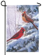 Cardinal Couple in the Snow Garden Flag