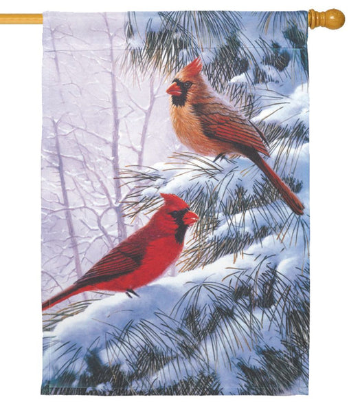 Cardinal Couple in the Snow House Flag - All Decorative Flags/Seasons/Winter Flags - I AmEricas Flags