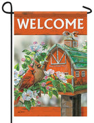 Cardinal Couple on the Farm Glitter Garden Flag