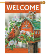 Cardinal Couple on the Farm House Flag