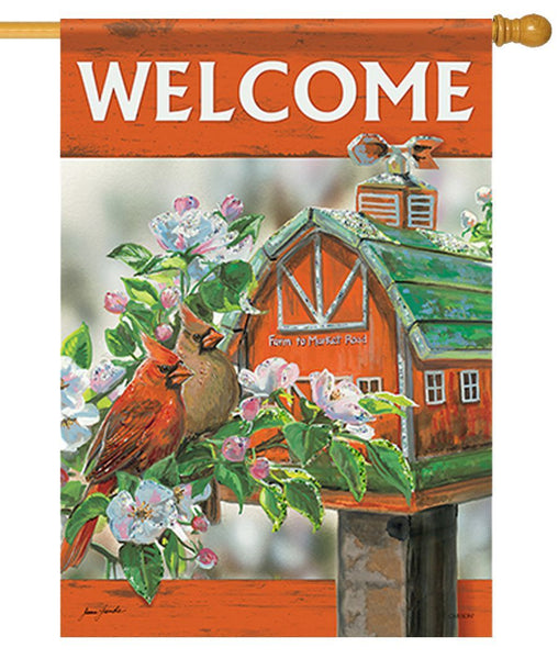 Cardinal Couple on the Farm House Flag - All Decorative Flags/Themes/Bird Flags/Cardinals - I AmEricas Flags