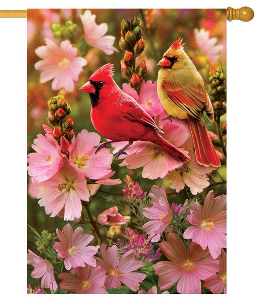 Cardinal Love House Flag - All Decorative Flags/Themes/Bird Flags/Cardinals - I AmEricas Flags