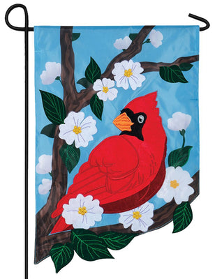 Cardinal Pear Blossoms Double Applique Garden Flag
