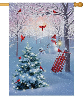 Cardinal Tree Snowman House Flag