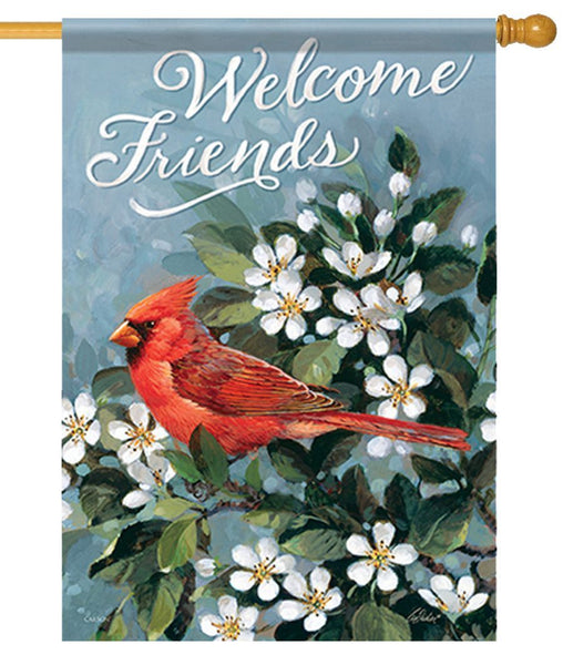 Cardinal Welcome Friends Pear Blossoms House Flag - I AmEricas Flags
