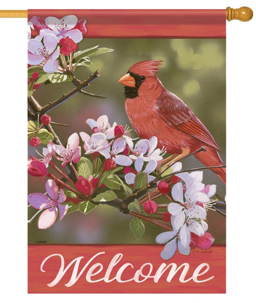 Cardinal Welcome Pear Blossoms House Flag - All Decorative Flags/Themes/Bird Flags/Cardinals - I AmEricas Flags