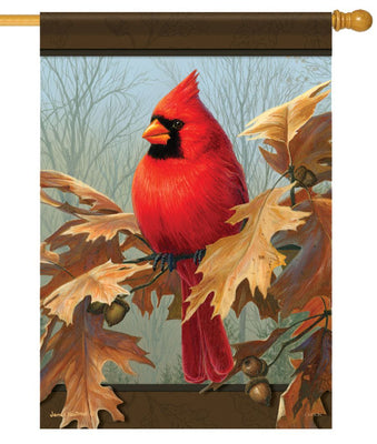 Cardinal and Autumn Oak House Flag