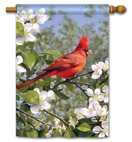 Cardinal in Blossoms House Flag - All Decorative Flags/Themes/Bird Flags/Cardinals - I AmEricas Flags