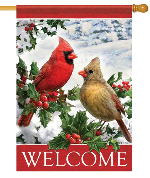 Cardinals and Holly House Flag - All Decorative Flags/Themes/Bird Flags/Cardinals - I AmEricas Flags