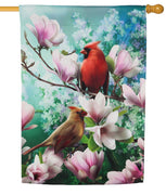 Cardinals and Pink Magnolia Suede Reflections House Flag