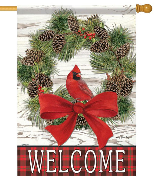 Cardinal Wreath Welcome House Flag - All Decorative Flags/Holidays/Christmas Flags - I AmEricas Flags
