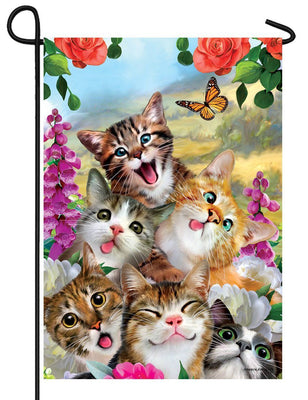 Cat Selfie Garden Flag