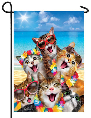 Cat Selfie on the Beach Garden Flag
