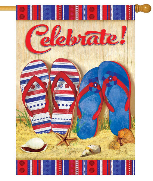 Celebrate Flip Flops House Flag - All Decorative Flags/Holidays/4th of July - I AmEricas Flags