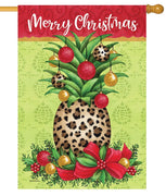 Cheetah Pineapple Christmas House Flag