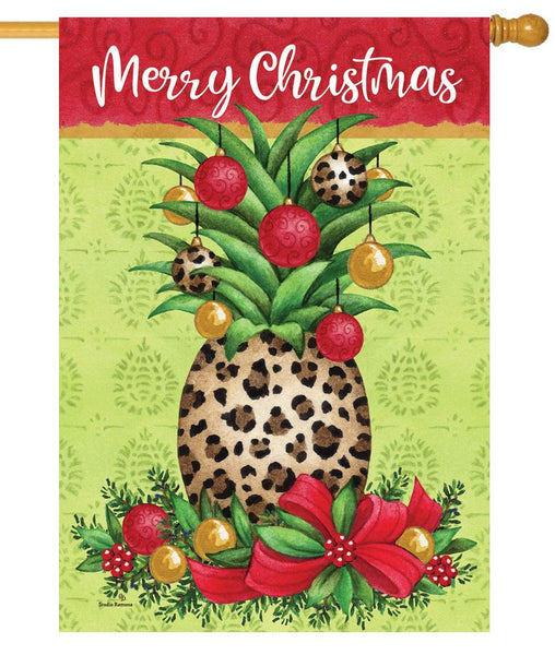 Cheetah Pineapple Christmas House Flag - I AmEricas Flags