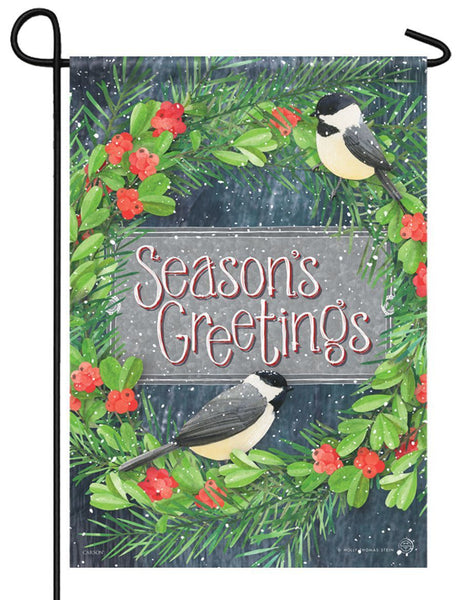 Chickadee Greetings Garden Flag