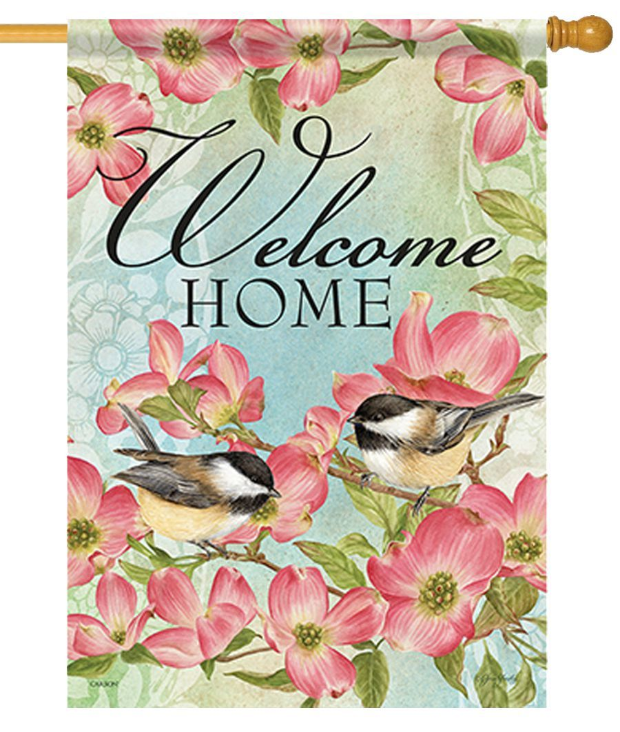 Chickadees and Dogwood House Flag