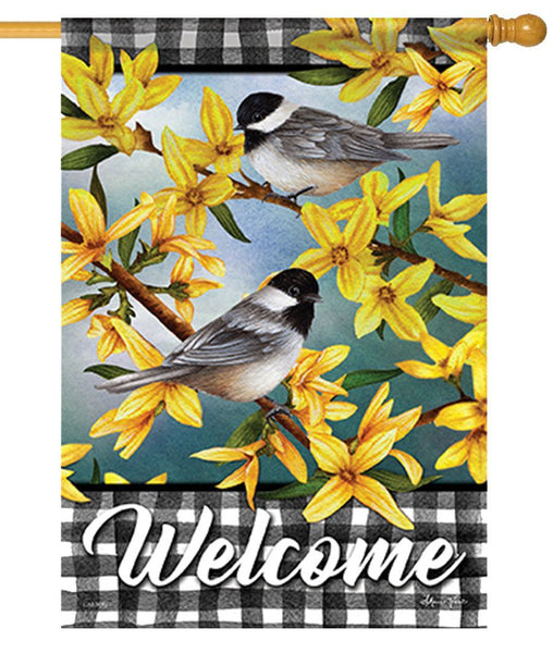 Chickadees and Forsythia on Gingham House Flag
