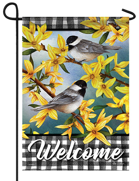 Chickadees and Forsythia on Gingham Garden Flag
