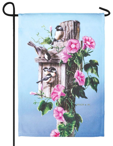 Chickadees and Morning Glory Garden Flag