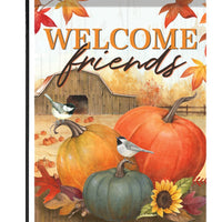 Chickadees and Pumpkins on the Farm Garden Flag