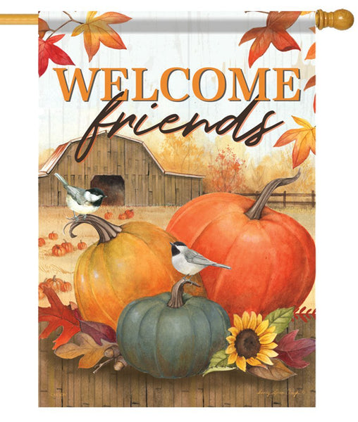 Chickadees and Pumpkins on the Farm House Flag