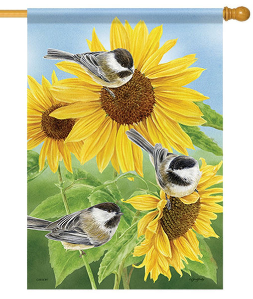 Chickadees and Sunflowers House Flag
