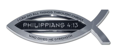 Christian Fish Chrome Car Emblem Philippians 4:13