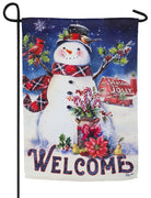 Christmas Barn Snowman Suede Reflections Garden Flag
