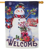 Christmas Barn Snowman Suede Reflections House Flag