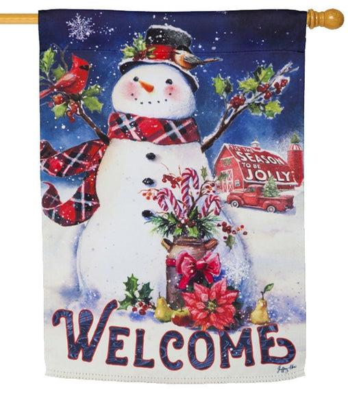 Christmas Barn Snowman Suede Reflections House Flag - All Decorative Flags/Holidays/Christmas Flags - I AmEricas Flags