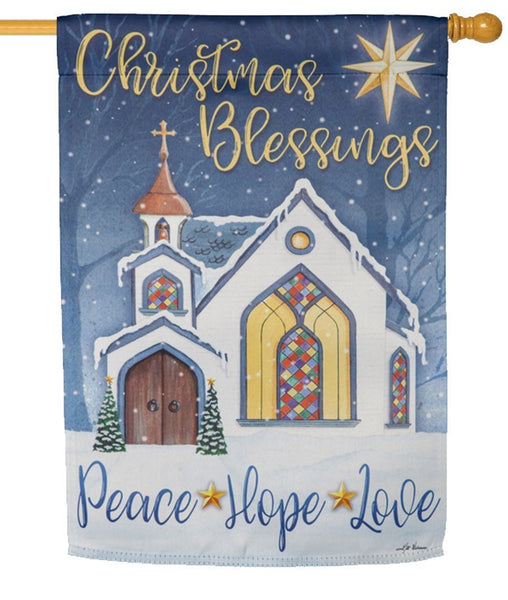 Christmas Blessings Suede Reflections House Flag - All Decorative Flags/Holidays/Christmas Flags - I AmEricas Flags