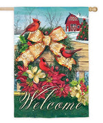 Christmas Cardinals Wreath Suede Reflections House Flag