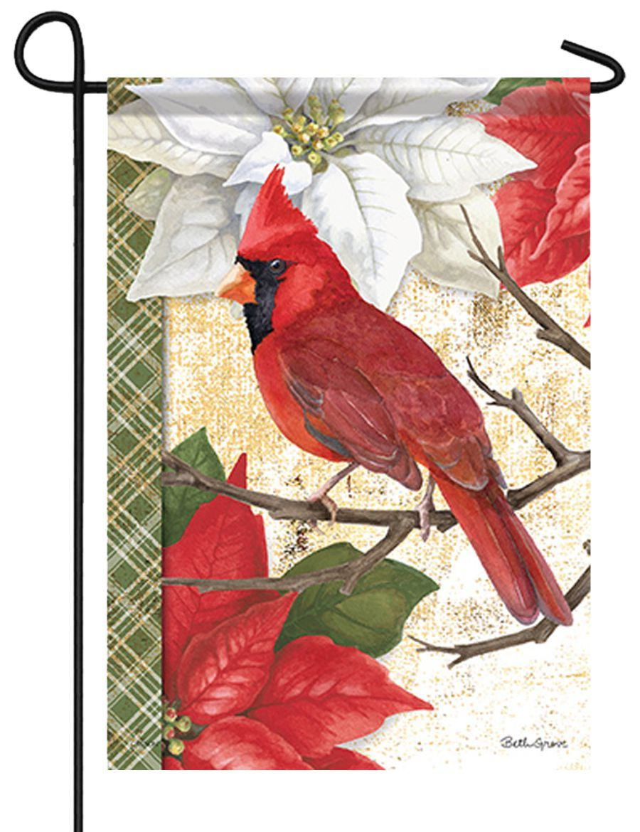 Christmas Cardinal and Poinsettias Garden Flag