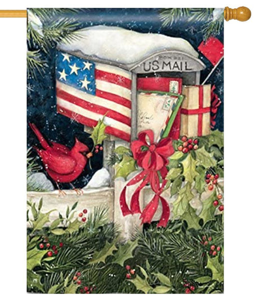 Christmas Cards Mailbox House Flag