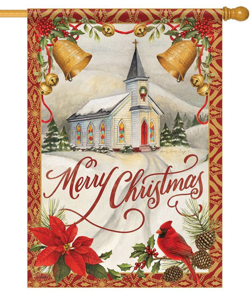 Christmas Chapel Bells House Flag - All Decorative Flags/Holidays/Christmas Flags - I AmEricas Flags