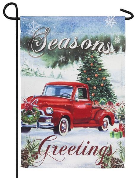 Christmas Farm Pickup Suede Reflections Garden Flag