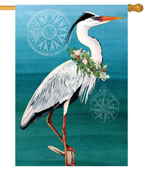 Christmas Heron House Flag