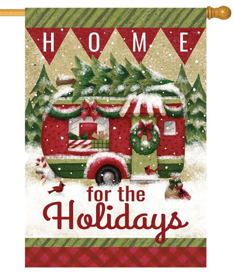 Christmas Holiday Camper House Flag