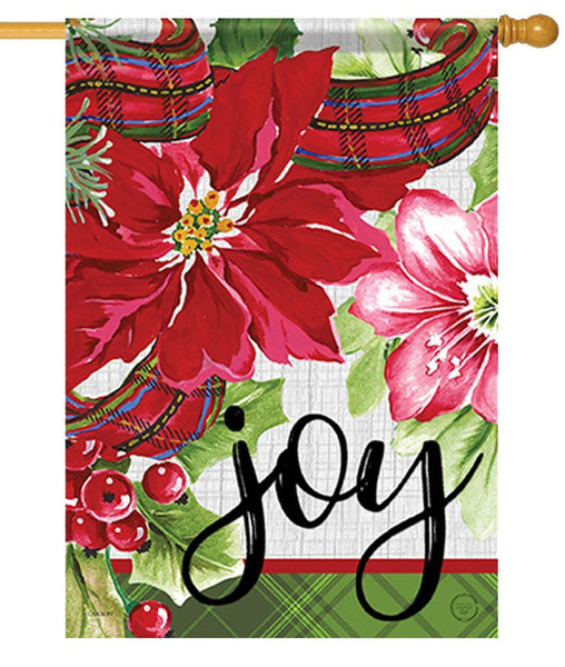 Christmas Joy Floral House Flag