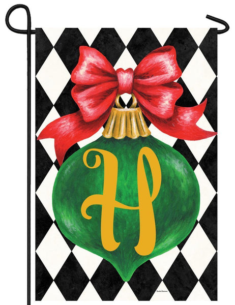 Christmas Ornament Monogram Letter H Garden Flag