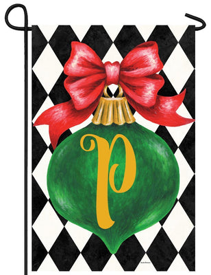 Christmas Ornament Monogram Letter P Garden Flag