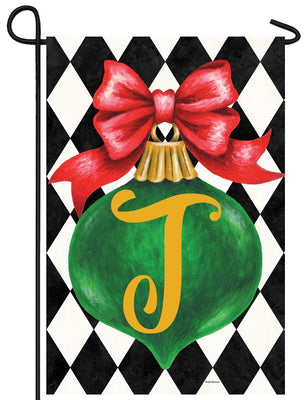 Christmas Ornament Monogram Letter T Garden Flag