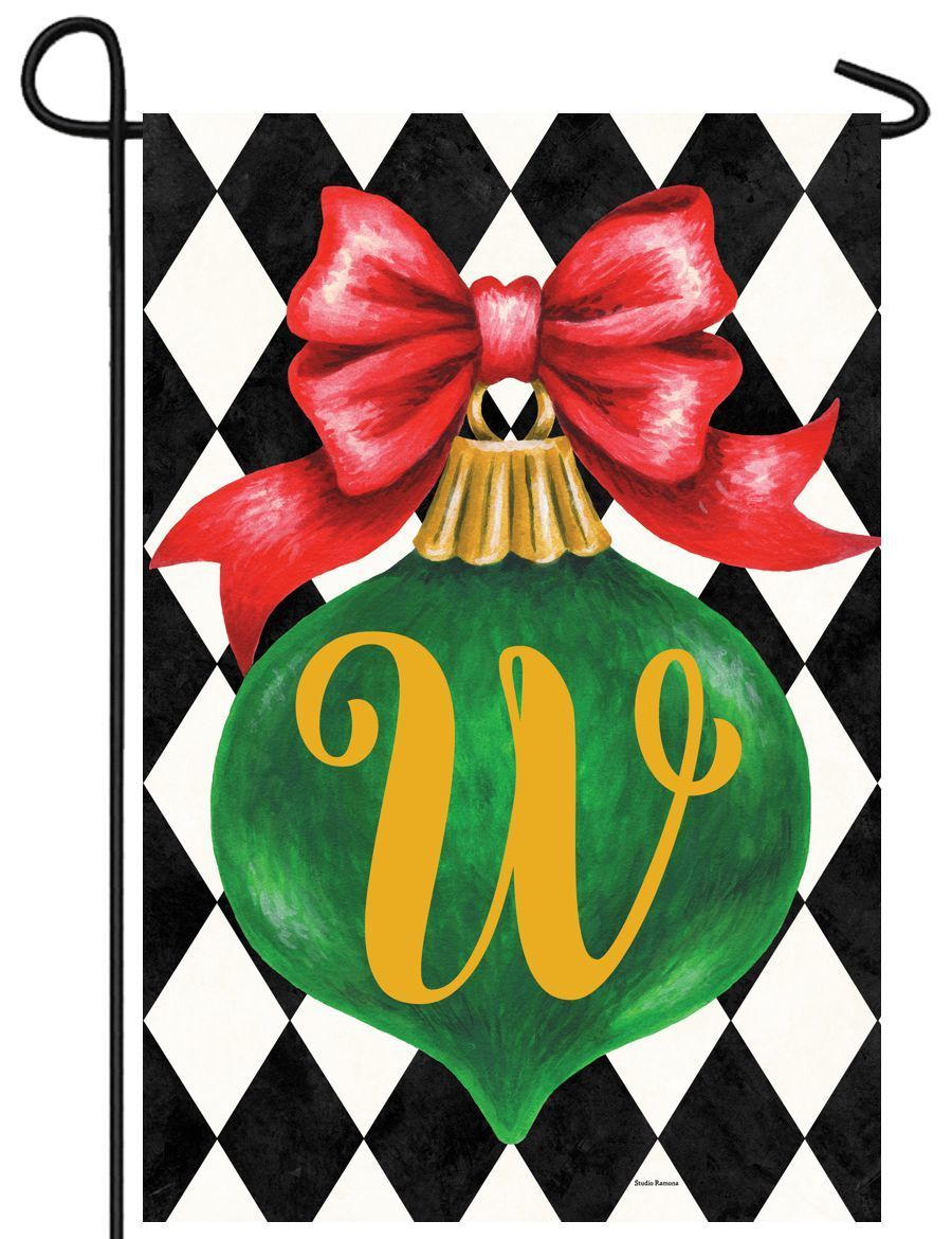 Christmas Ornament Monogram Letter W Garden Flag